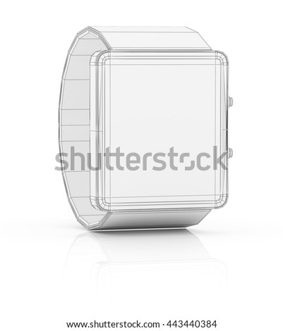 Smart watch prototype, template for design. 3D illustration