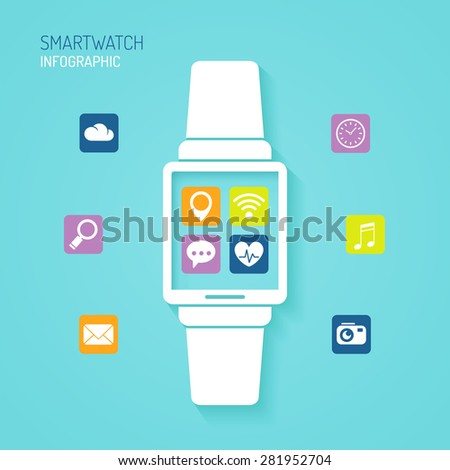 Smart watch wearable device with apps icons flat design - stock photo