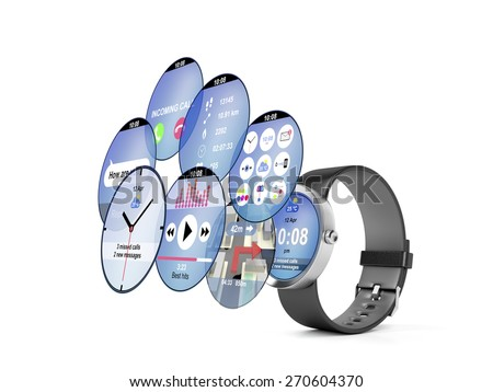 Smart watch with different interfaces and apps - stock photo