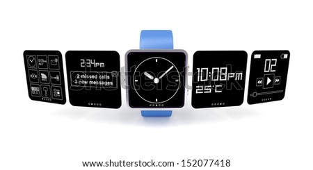 Smart watch with different screens - stock photo