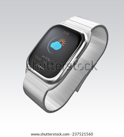 Smart watch with intelligent touch screen interface. Original design.