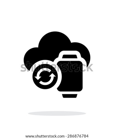 Smart watches sync with cloud simple icon on white background. - stock photo