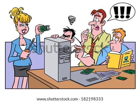 Smart woman helping men fix the computer