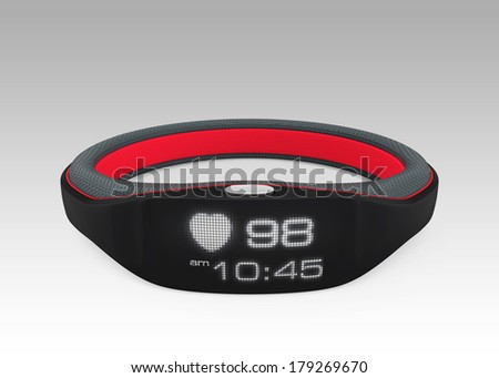 Smart wristband isolated on gradient background - stock photo