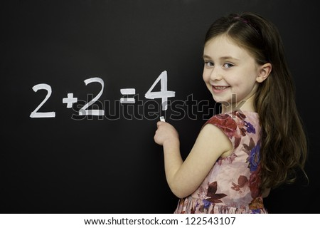 Smart young girl wearing a red dress writing math sums on a blackboard