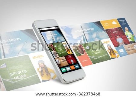 smarthphone with news web page on screen - stock photo