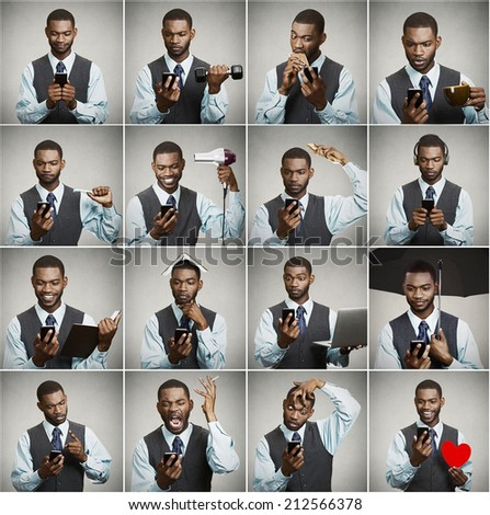 Smartphone addiction concept. Collage, portrait man, executive businessman using smart phone all day long, multitasking isolated grey background. Face expressions, emotions, perception, body language - stock photo