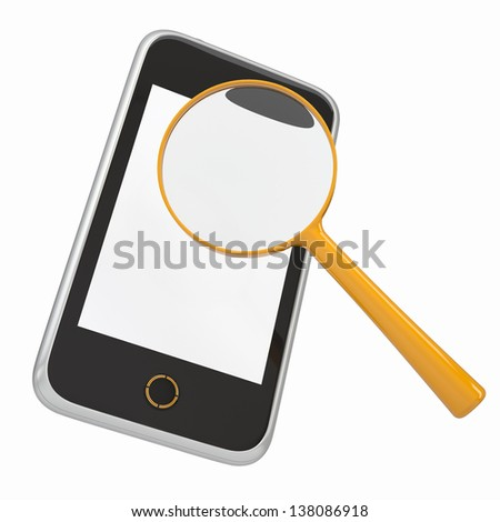 Smartphone and a magnifying glass. Isolated render on a white background - stock photo
