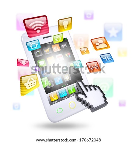Smartphone and application icons. The concept of telecommunication technologies