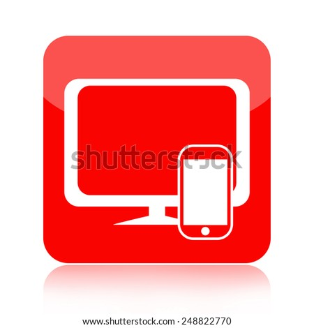 Smartphone and desktop computer icon - stock photo
