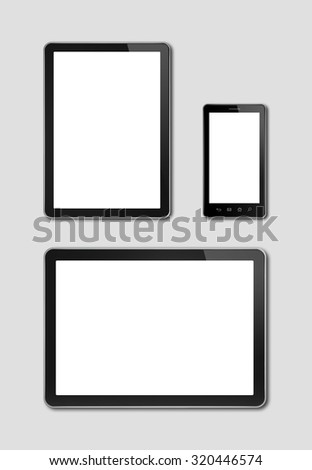 smartphone and digital tablet pc mockup template. grey background - stock photo
