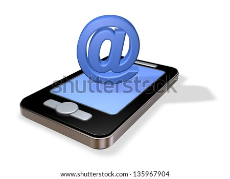 smartphone and email symbol on white background - 3d illustration