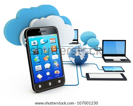 Smartphone and Home Electronic Devices connected to cloud server. Note: All Devices design and all screen interface graphics in this series are designed by the contributor him self. - stock photo