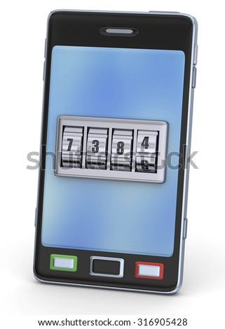 Smartphone and Security Code 3D