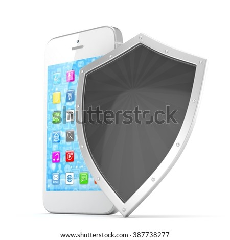 Smartphone and shield on white, security concept