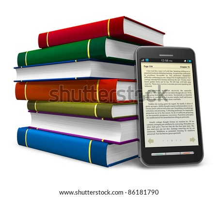 Smartphone and stack of color books isolated on white background - stock photo
