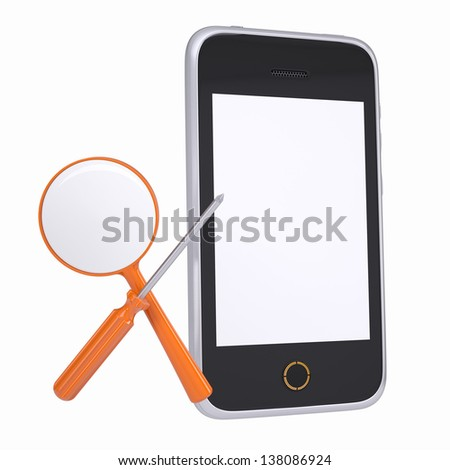 Smartphone and tools for repair and diagnostics. Isolated render on a white background - stock photo