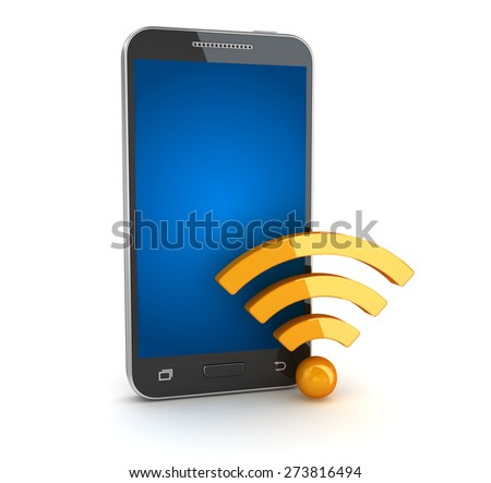 Smartphone and wifi symbol. 3d render and computer generated image. isolated on white. - stock photo