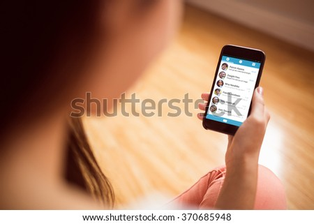 Smartphone app menu against asian woman using phone with copy space - stock photo