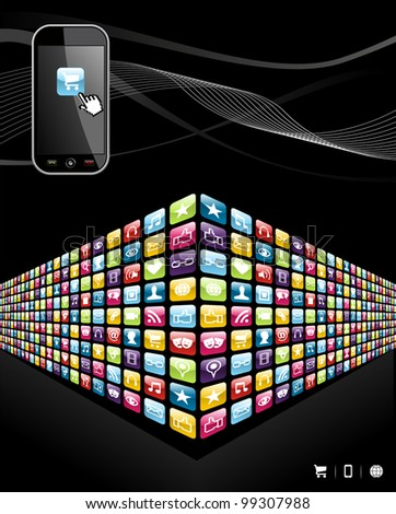 Smartphone application wall icons on black background. - stock photo