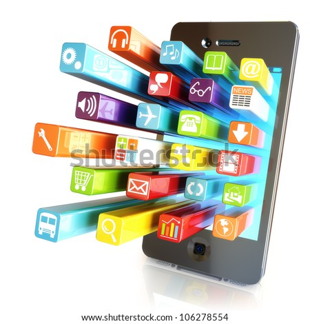 Smartphone apps,touchscreen smartphone with application software icons extruding from the screen, isolated in white - stock photo