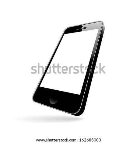 smartphone black. perspective view.  illustration(rasterized version) - stock photo