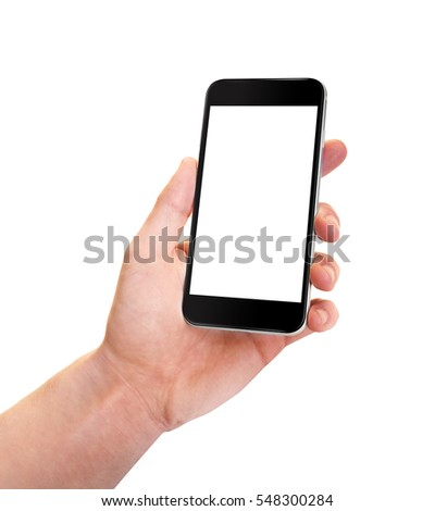 Smartphone black with blank screen in left hand. Phone in little angled position - isolaten on white background