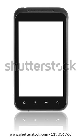 Smartphone blank screen. Isolated on white with clipping path. - stock photo