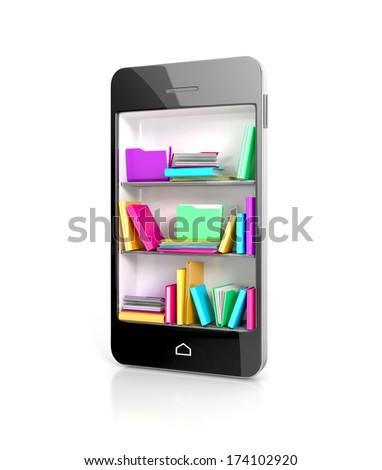 Smartphone Bookcase with colorful e-books. 3d concept - stock photo