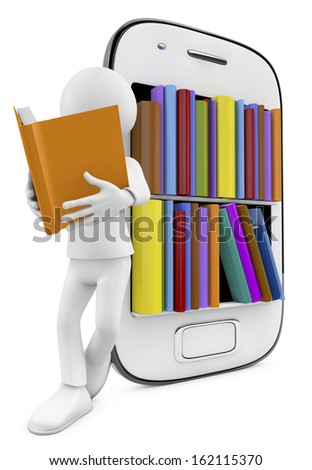 smartphone Bookcase with Multicolor books and man reading, isolated on White Background - stock photo