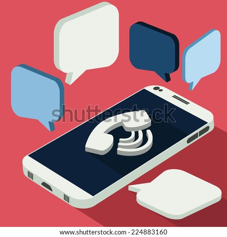 Smartphone call and sends message via sms chat 3d flat design style. White telephone on desk calls. Raster version - stock photo