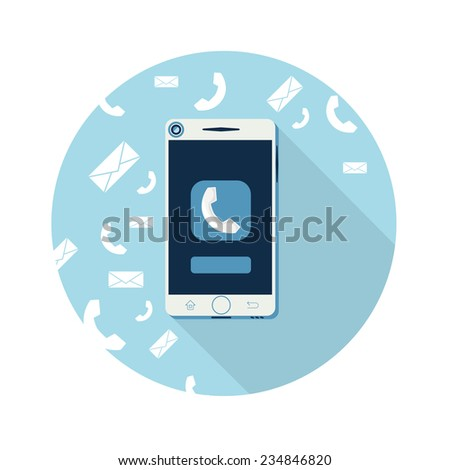 Smartphone call and sends message via sms chat flat design. Raster version - stock photo