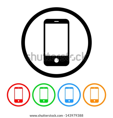 Smartphone Cell Phone Icon with Four Color Variations - Raster Version.  Vector Also Available. - stock photo