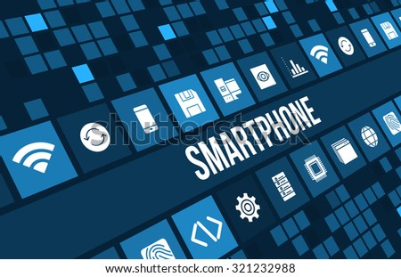 Smartphone concept image with technology icons and copyspace - stock photo