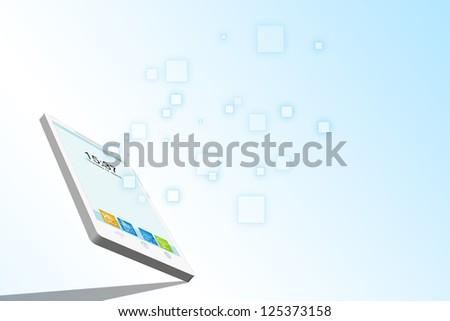 Smartphone 3D data stream illustration - stock photo