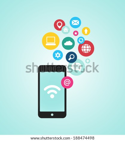 smartphone device concept with applications (app) icons in flat design - stock photo