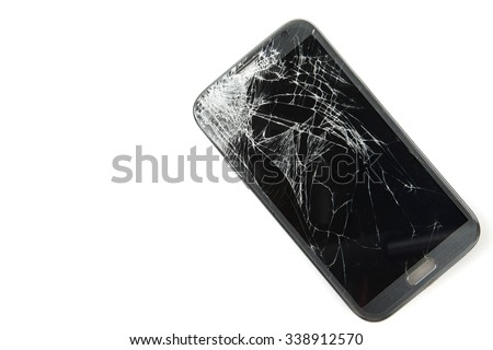Smartphone drop to the floor and screen damage broken isolated on white background - stock photo