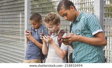 smartphone generation. Excessive use of cell phone - stock photo