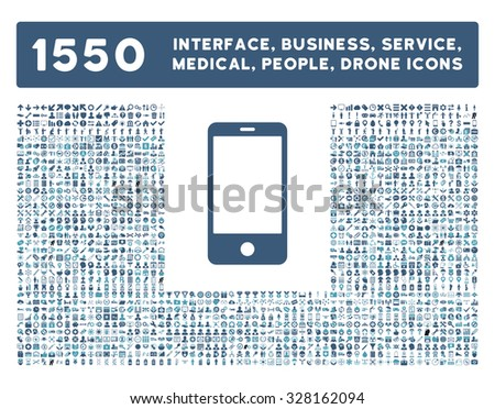 Smartphone icon and other web interface, business, tools, people, medical service and awards glyph symbols. Style is bicolor flat symbols, cyan and blue colors, rounded angles, white background. - stock photo