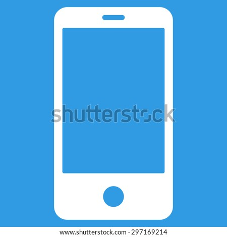 Smartphone icon from Primitive Set. This isolated flat symbol is drawn with white color on a blue background, angles are rounded.