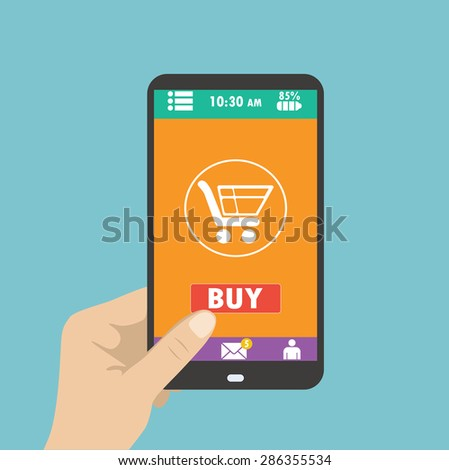 Smartphone in hand. mobile shopping button, flat design - stock photo