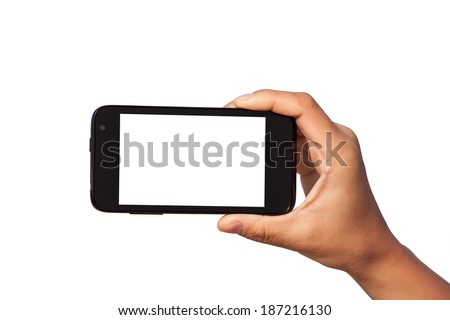 smartphone in hand over white background - stock photo
