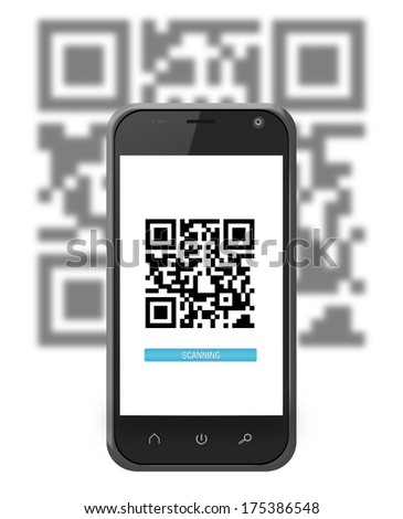 Smartphone in iphone style scanning a QR code with progress bar - stock photo