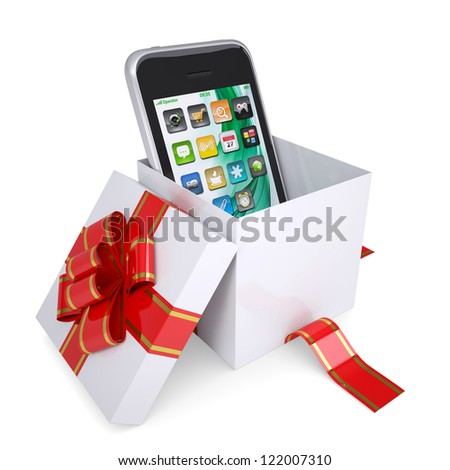 Smartphone in the gift box with red ribbons. Isolated render on a white background - stock photo