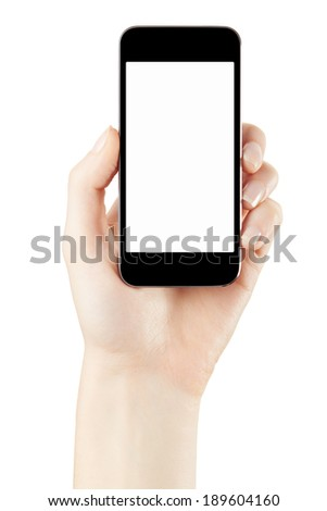 Smartphone in woman hand with blank screen isolated on white, clipping path included - stock photo