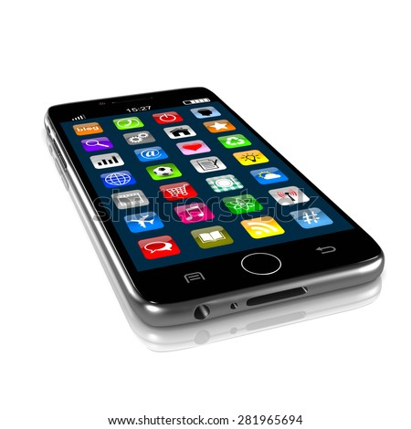 Smartphone Isolated on White Background 3D Illustration - stock photo