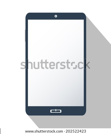 Smartphone isolated on white, with blank screen. Flat design illustration.