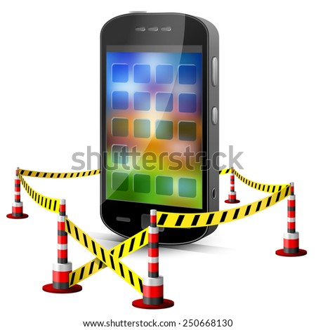 Smartphone located in restricted area. Mobile phone surrounded barrier tape. Qualitative illustration about smartphone, mobile technology, information security, phone repair, etc - stock photo