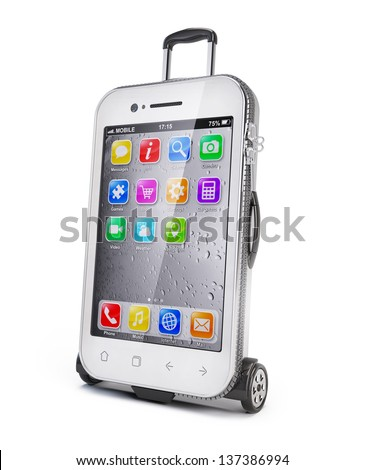Smartphone - luggage suitcase concept - stock photo