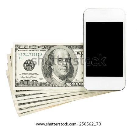 Smartphone lying on banknotes of United States, isolated on a white background - stock photo